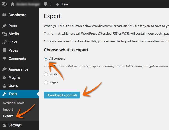 Export-Wordpress
