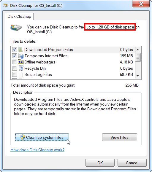 Disk clean up for os