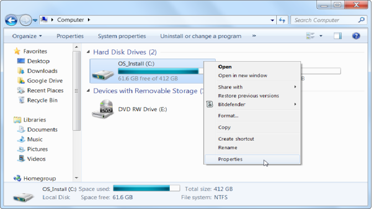Use disk clean up