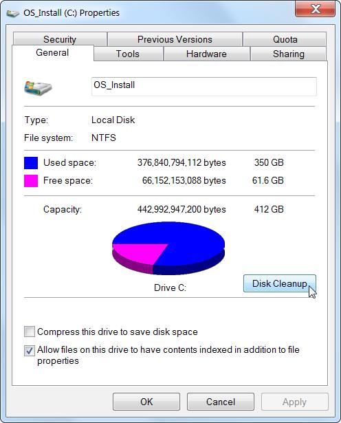 disk clean up general tab