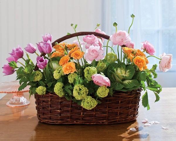 Faux Flower Easter Basket