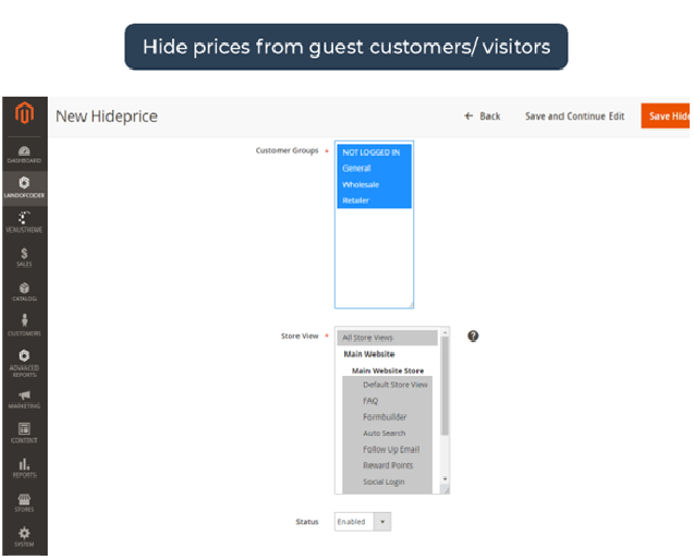 Hide price from guest customers